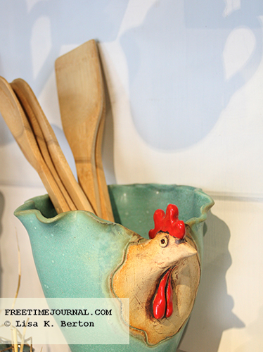Rooster set at Ceramics by Sibel