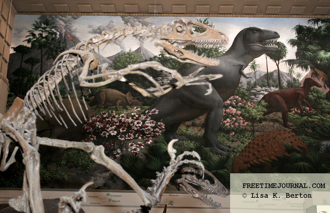 A Deinonychus in front of Rudolph F. Zallinger's The Age of Reptiles mural.